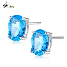 SaiSee 50% OFF Luxury Earrings 1.8 Carat Oval Sky Blue Topaz 925 Sterling Silver Stud Earring for Women Wedding Jewelry Gift