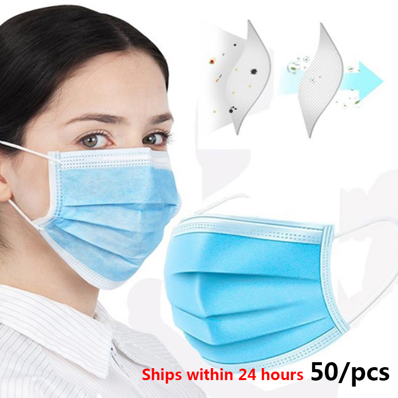 Disposable Mouth Mask 50pcs/Bag Men Women Cotton Anti Dust Mouth Mask Windproof Mouth-muffle Bacteria Proof Flu Face Masks