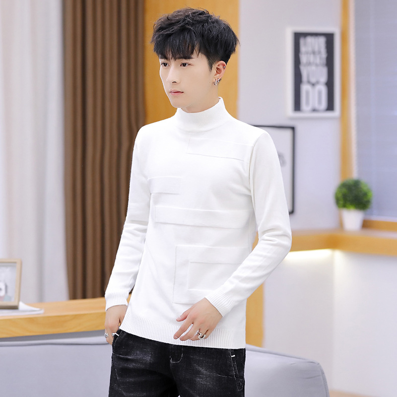 Sweater Men Autumn Leisure Long-sleeved Sleeve White Yellow Pink Pullovers Red Black Red High Colla Mens Sweaters Solid