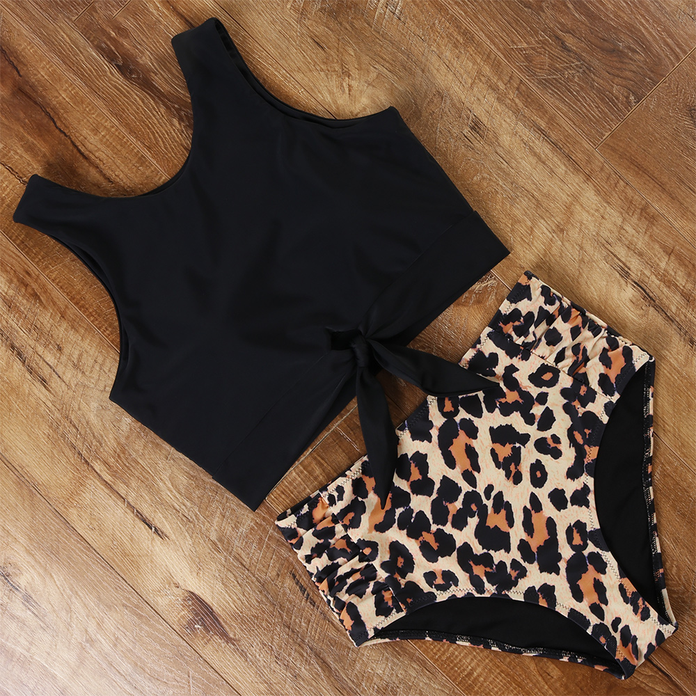 High Waist Bikini Swimwear Women Floral Swimsuit Leopard Women High Neck Bikini Push Up Plus Size Swimwear Striped Bathing Suit