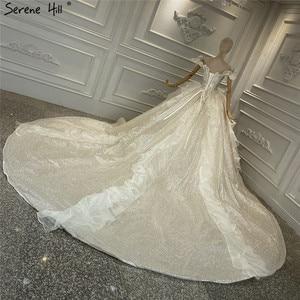 Image 4 - Szampana rocznika brokat luksusowe suknie ślubne 2020 Off ramię perły suknia ślubna spokojny Hill HA2315 Custom Made