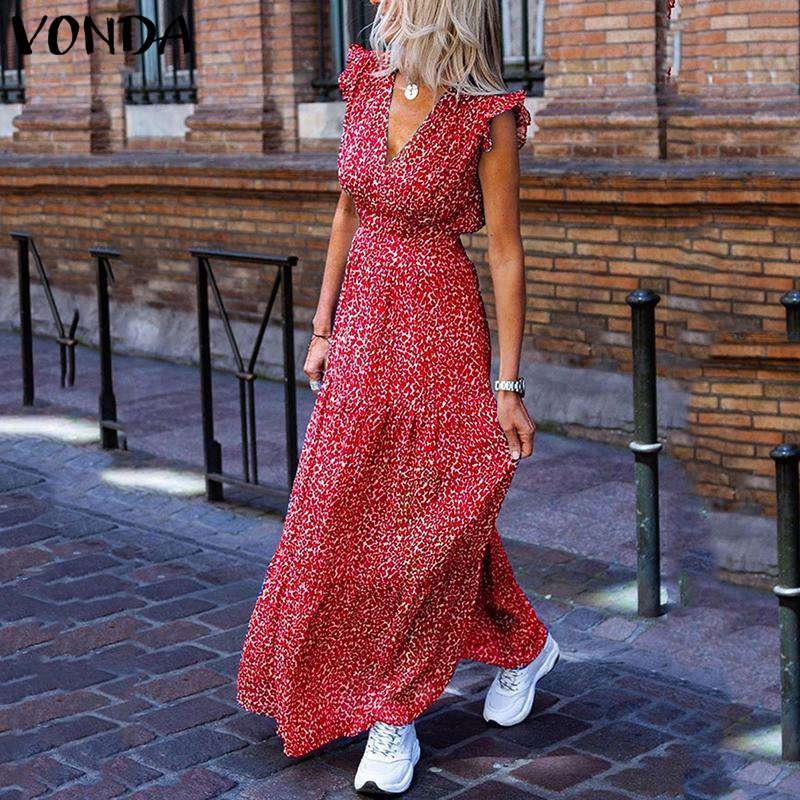 VONDA Bohemian Summer Dress 2020 Sexy V Neck Sleeveless Vintage Floral Printed Long Maxi Dresses Plus Size Beach Holiday Vestido