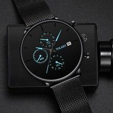 Мужские деловые часы, кварцевые роскошные простые маленькие указатели, скраб циферблат, мужские трендовые часы для отдыха, календарь, подарок, наручные часы, Montre Homme