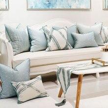 Элегантный Модный синий Геометрическая Подушка/almofadas чехол, современный дизайн Подушка для спины крышка 45 50 60, декоративный чехол для подушки