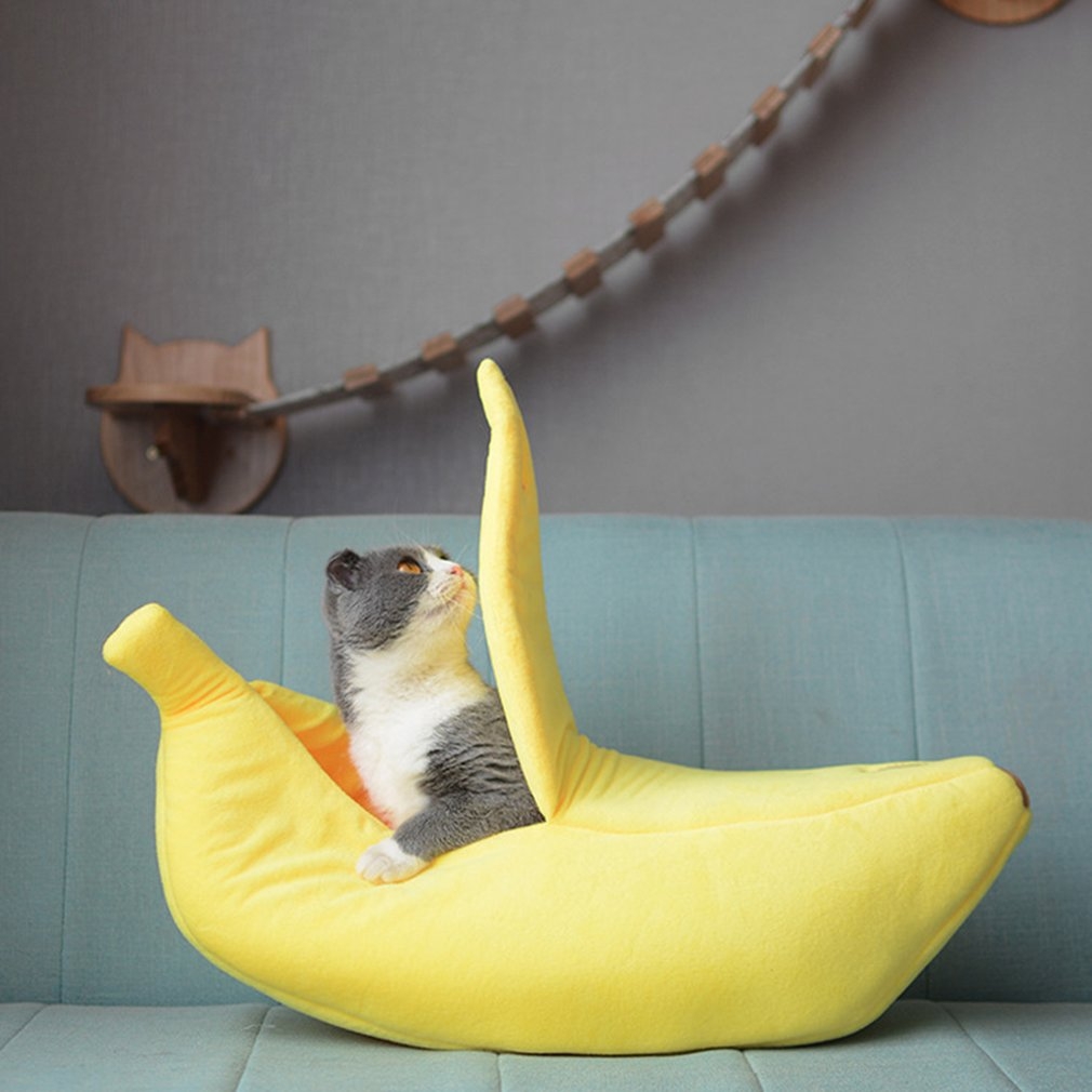 Funny Banana Cat Bed House Cute Cozy Cat Mat Beds Warm Durable Portable Pet Basket Kennel Dog Cushion Cat Supplies Yeallow 2021 1