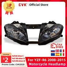 CVK Motocicleta Farol Farol Head Light Para YAMAHA YZF 600 R6 2008 2009 2010 2011 2012 2013 2014 2015 Lâmpada YZF-R6 08-15