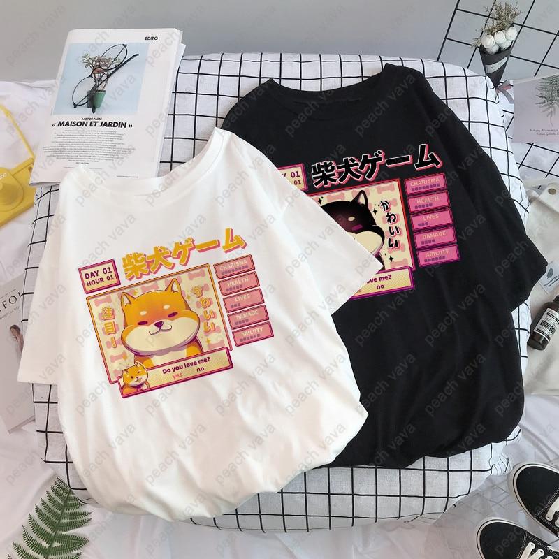 Aesthetic Camisas Mujer Harajuku T-Shirt Kawaii Cute Shiba Inu Doge Print Summer Korean Streetwear Women chic casual Tops Tees(China)