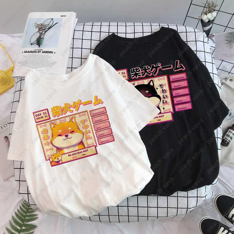ความงาม Camisas Mujer Harajuku เสื้อยืด Kawaii น่ารัก Shiba Inu Doge พิมพ์ฤดูร้อนเกาหลี Streetwear ผู้หญิง Chic Casual Tops Tees