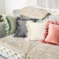 45x45cm nova chegada ins estilo veludo travesseiro capa de almofada capa de almofada luxo quadrado almofadas decorativas com penas|Fronha| |  -