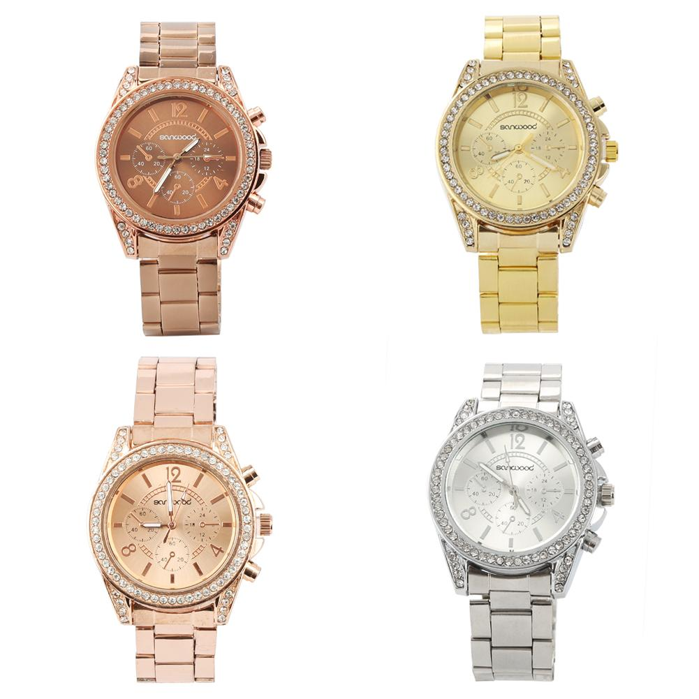Women Wrist Watch Stainless Steel Band Fashion Shiny Rhinestone Clock Analog Quartz Wrist Watch Reloj Mujer Ladies Watch Ladies