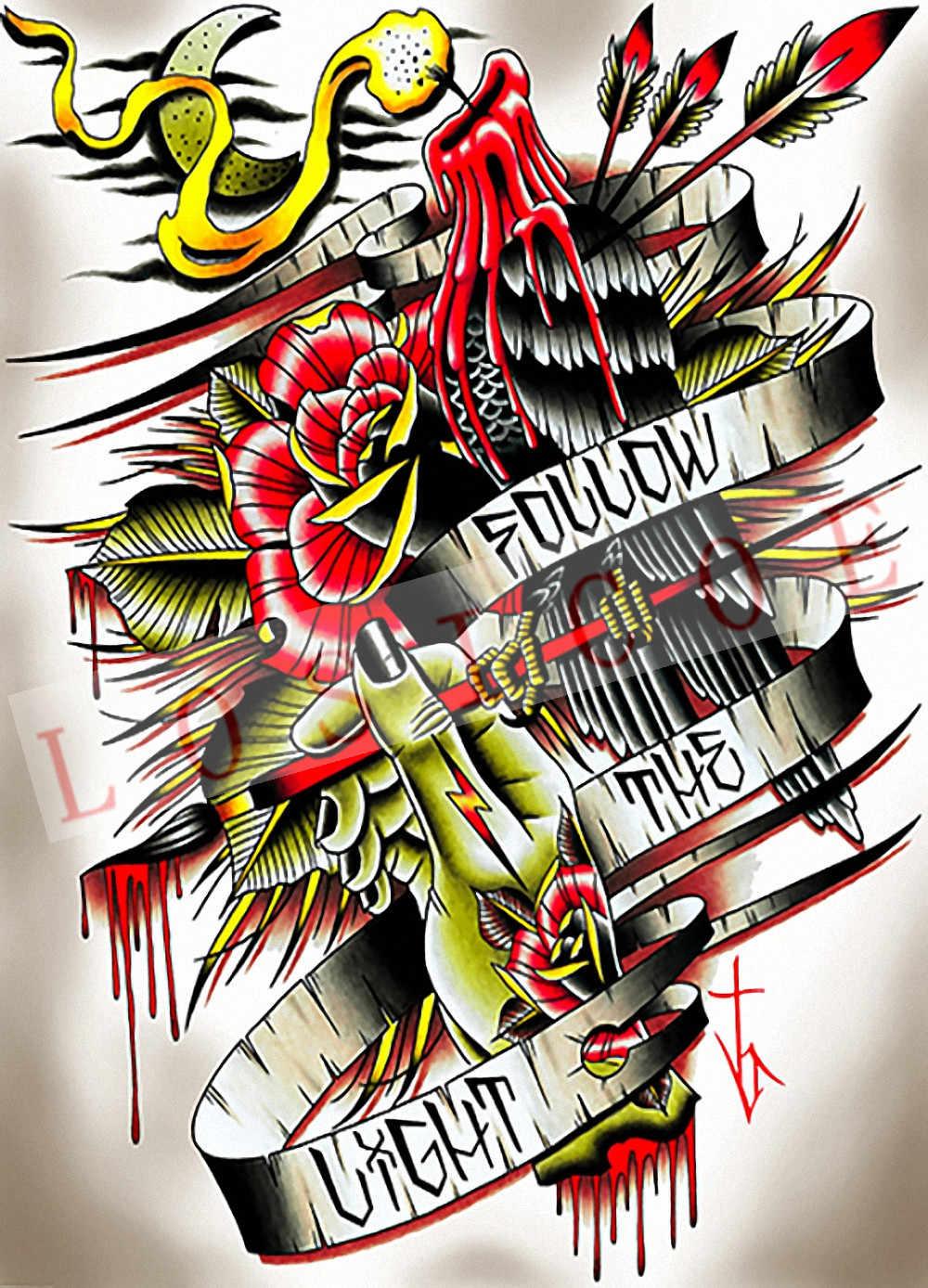 Patrón de tatuaje creativo pósteres pegatina de pared 30X42 CM nostalgia retro papel kraft HD impresión de inyección de tinta arte decoración del hogar E