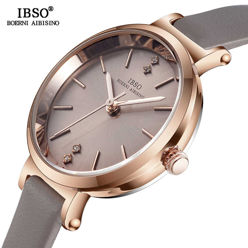 Женские ультра-тонкие наручные часы IBSO, модные кварцевые часы для женщин, 8 мм, 2020