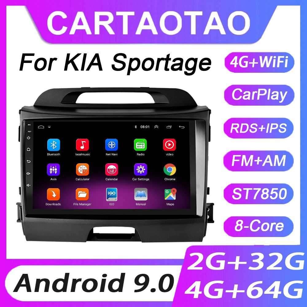 4G + 64G Android 9.0 Lettore DVD Dell'automobile Per KIA Sportage 3 2010 2011-2016 Auto Radio GPS di Navigazione WIFI RDS IPS Multimedia Player 2din