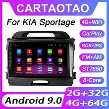 Kit multimídia automotivo com dvd player, 4 gb + 64 gb, android 9.0, para kia sportage 3 2010 2011-2016 player multimídia 2din wifi rds ips, navegação gps