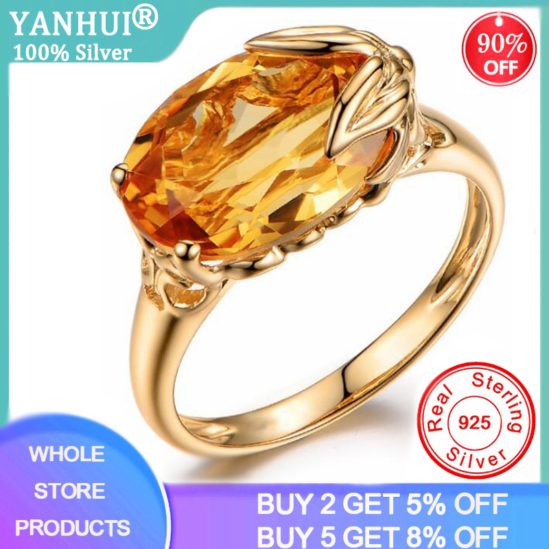YANHUI Silver 925 Jewelry Rings For Women Oval Shape Topaz Citrine Gemstone Ring Party Female Silver Ring Fine Jewely ZR441