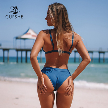 CUPSHE Blue Triangle Low-Waisted Bikini Sets Sexy Thong Swimsuit Two Pieces Swimwear Women 2020 Beach Bathing Suits Biquinis 2