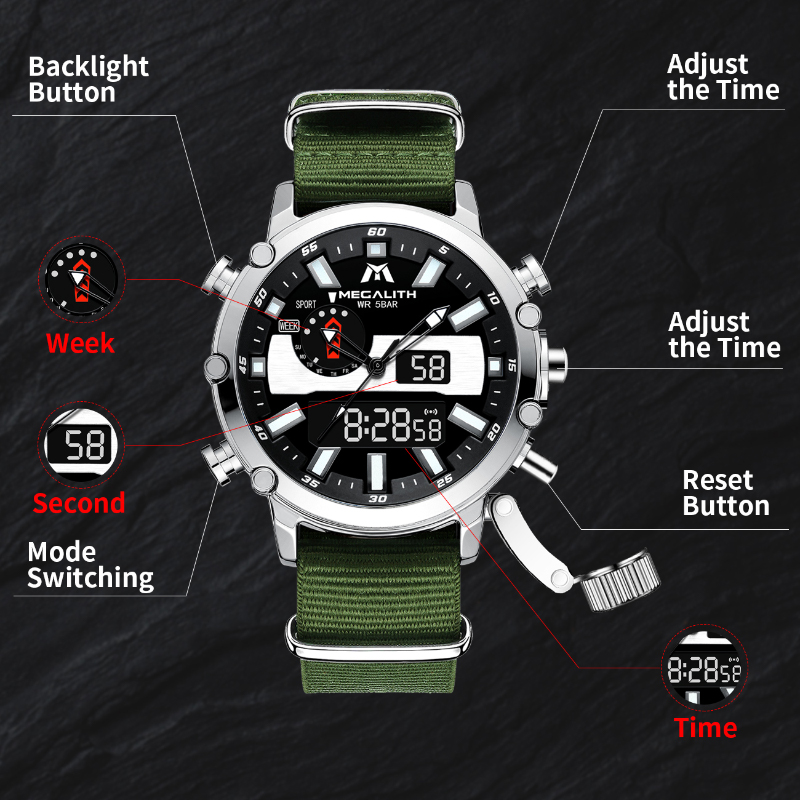 MEGALITH Mens Digtal Watch Dropshipping Sport Military Analog Quartz Multifunction Dual Display Watch with Alarm Stopwatch 8229 4