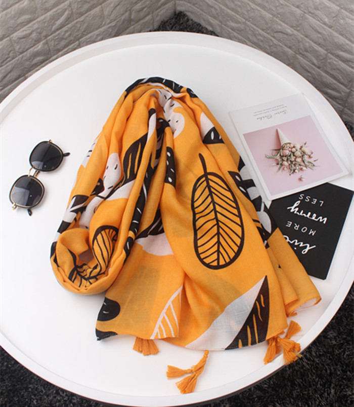 2020 Accesorios Mujer Long Leaves Pattern Head Scarf Print Soft Shawl Wrap Pashminas Sjaal Muslim Hijab Snood