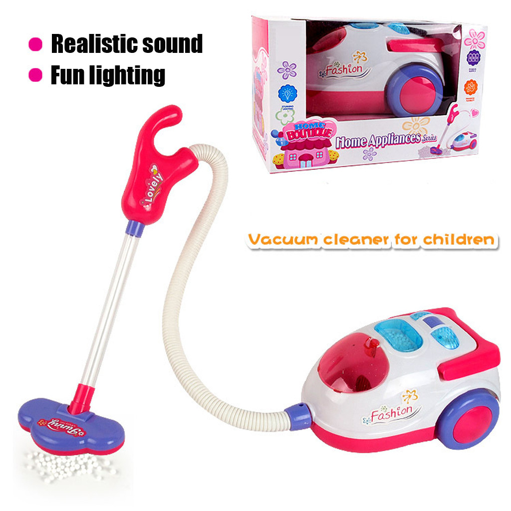 Vacuum Cleaner For Kids Role Hoover Fun Realistic Toy Pink With Light Sound Play Stranger Things Toys For Children Игрушки(China)