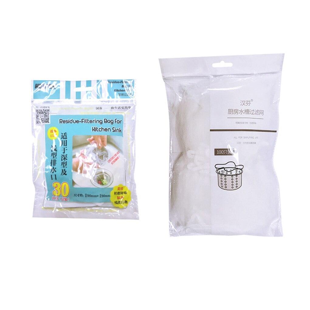 30pcs/100pcs Filter Bag Sink Strainer Garbage Pouch Net Mesh Kitchen Anti Clogging Supplies