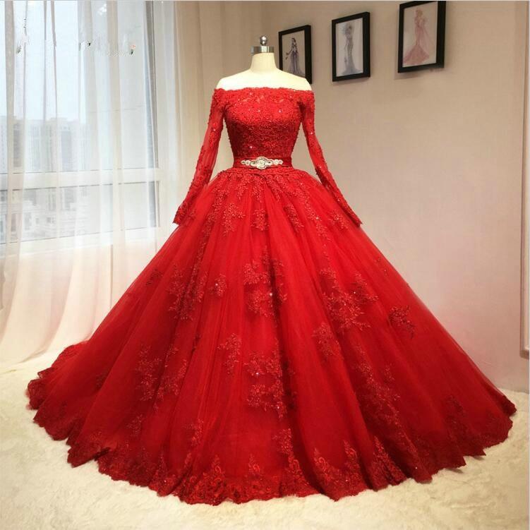 Amazing Wedding Dresses Red Off The Shoulder Lace Appliques Sash Bridal Gowns Saudi Arabic Wedding Vestidos Custom MadeQuinceanera Dresses   -