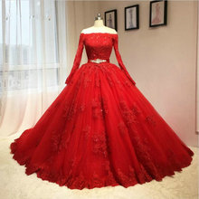 놀라운 웨딩 드레스 레드 숄더 레이스 Appliques 새시 신부 가운 사우디 아라비아 웨딩 Vestidos 맞춤 제작