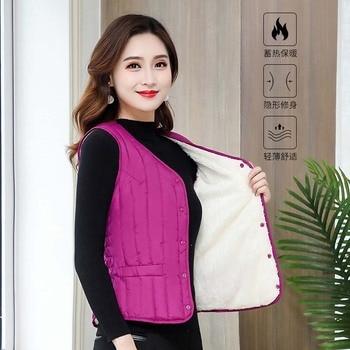 Women Sleeveless Vest Winter Warm Plus Size 4XL Down Cotton Padded Jacket villus Female Veats Slim fit Sleeveless Waistcoat 713 1