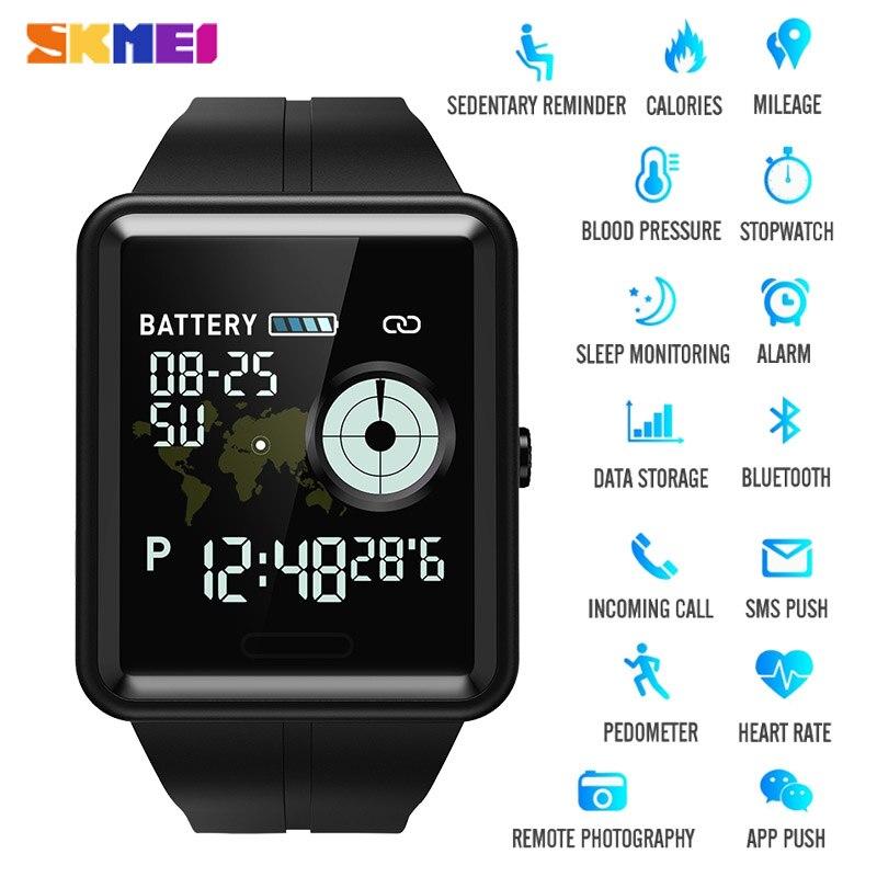 SKMEI W37 IP67 Reloj Mulheres Homens Esporte Smartwatch inteligente Monitor de Freqüência Cardíaca À Prova D' Água relógio de Pulso Relógio Inteligente Para IOS Androis