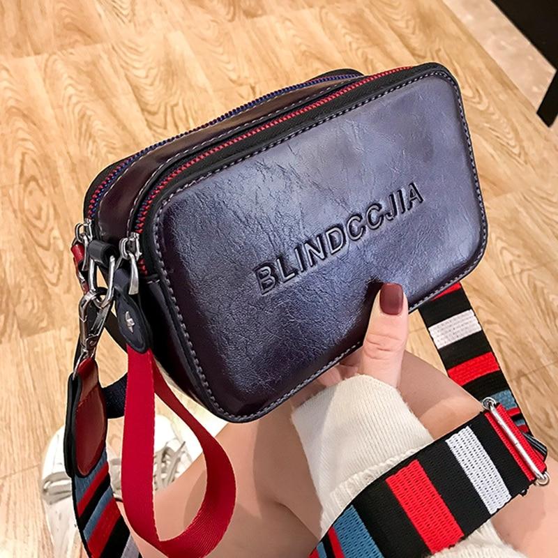 Women Bag New Shoulder Bag Fashion Small Square Bag Girl Handbag Wide Strap Black Crossbody Bag Leather Bolsos Mujer 2020