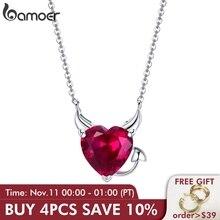 Bamoer nova coleção 100% 925 prata esterlina diabo asas vermelho cz colares pingente para as mulheres moda prata jóias scn286
