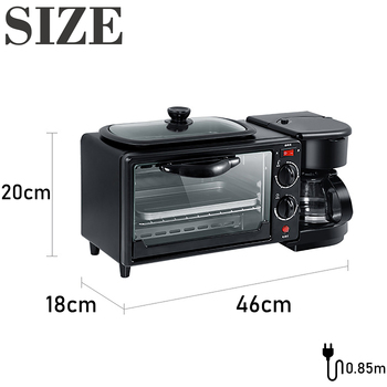Electric 3 in 1 Breakfast Making Machine Multifunction Drip Coffee Maker Household Bread Pizza Frying pan Toaster 220V Sonifer 6