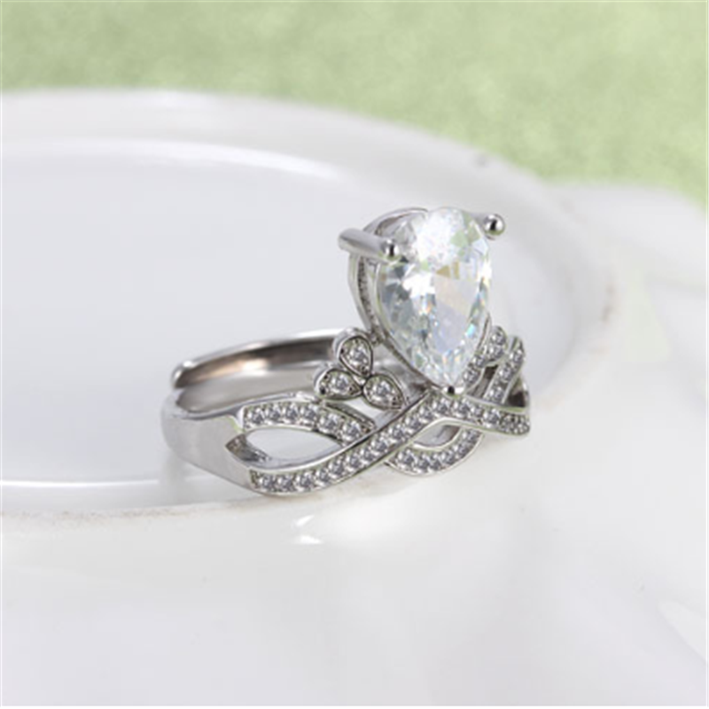 Nowy proste osobowość temperament moda dzikie korona cyrkon regulowany modelki 925 sterling silver rings SA043