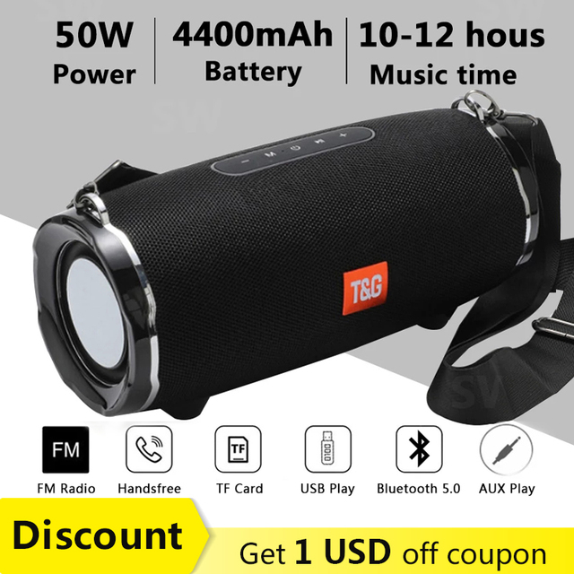 50W High Power Bluetooth Speaker TG187 Waterproof Portable Column For PC Computer Speakers Subwoofer Boom Box Music Center FM TF