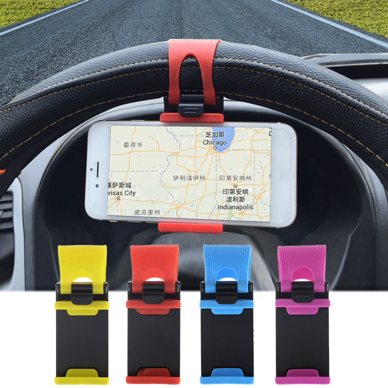1pcs Motorcycle Bicycle Car Steering Wheel Mobile Phone Holder Bike Handlebar Clip Stand Mount Bracket For IPhone Samsung GPS