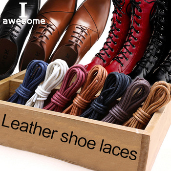 1Pair Waxed Cotton Round Shoe laces Coloured Leather Shoes lace Waterproof ShoeLaces Men Martin Boots Shoelace Shoestring image