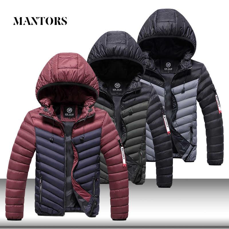 Zimowa męska kurtka parka w stylu casual z kapturem płaszcze męskie jednolity, gruby ocieplana kurtka z bawełny dres męski ciepłe parki na zimę znosić płaszcz