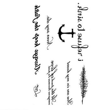 1 PC Fashion Women Temporary Tattoo Sticker English Anchor Feather Design Flower Arm Body Art Large Fake Tattoo Sticker new 1 piece temporary tattoo sticker mechanical design full flower tattoo with arm body art big large fake tattoo sticker