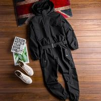 Mens Hooded Overalls Jumpsuit Trousers Belt Casual Loose Workwear Pants B63