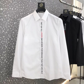 DUYOU Mens Cotton Shirt Men Dress Shirt Men Placket english letter LOVERS print shirt High Quality Slim Fit Casual Shirts DY2907