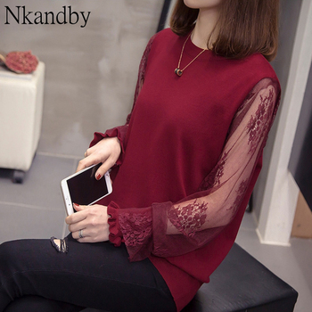 Plus Size Knitted Pullovers Blouse 2020 Spring Women Fashion Korean Lace embroidered Long Sleeve Oversize Office Knit Tops Tees plus size arab embroidered open front blouse
