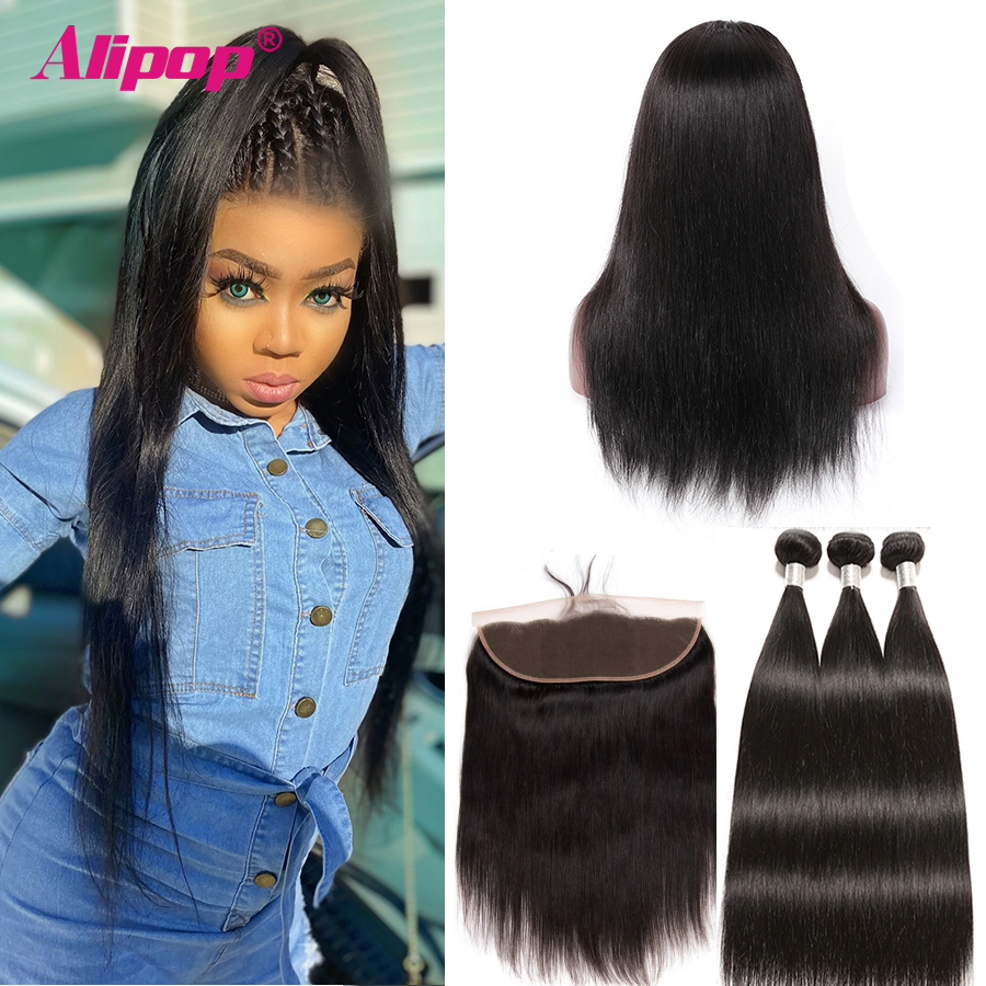 Alipop Brazilian Straight Hair Customized Lace Frontal Wig Hair By 3 Bundles With Frontal 13x4 Swiss Lace Remy Human Hair