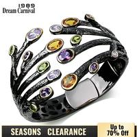 Dreamcarnival1989 Vintage Fashion Cuff Bracelet for Women Multi Colors CZ Bezel Dragon Claw Bangles Deluxe Party Jewelry Bijoux