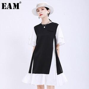 [EAM] Women Black Contrast Color Split Joint Dress New Round Neck Short Sleeve Loose Fit Fashion Tide Spring Summer 2020 1U495