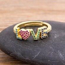 Anillos de amor de oro ajustables para mujer, anillos de amor románticos para mujer, anillo Popular de arcoíris, regalos de aniversario de boda finos 2020