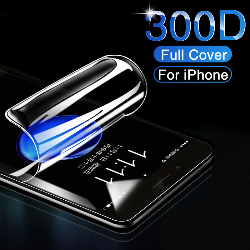 <font><b>300D</b></font> Full Cover Soft Hydrogel Film For iphone 6 7 8 Plus 6 6s Screen Protector On The iphone 11 Pro X XR XS Max Film Not Glass image
