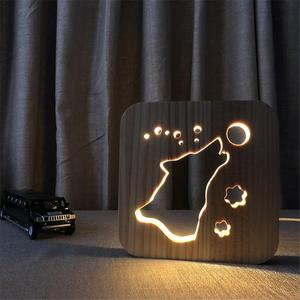 Image 2 - LED Creative USB לילה אור עץ כלב Paw וולף ראש מנורת ילדים קישוט חם אור מנורת שולחן לילדים מתנת מנורות