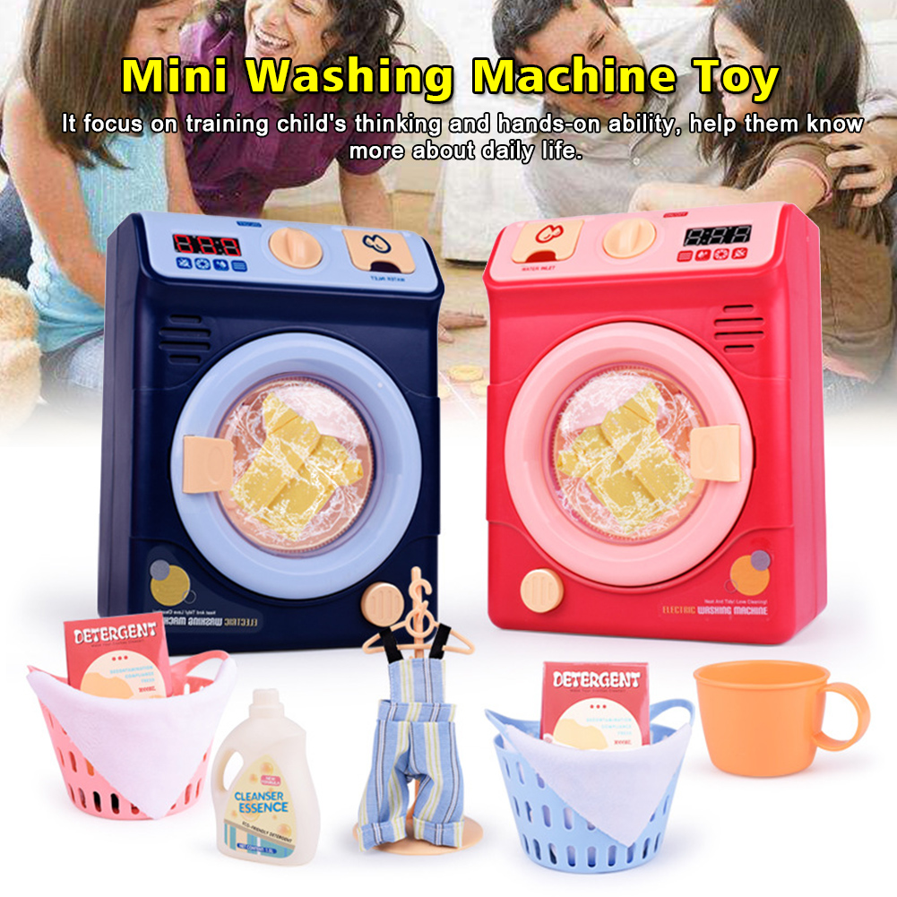 Pretend Play Automatic Clothes Cleaning Washing Machine Toy Kids Mini Electric Educational Housekeeping Dollhouse Simulation