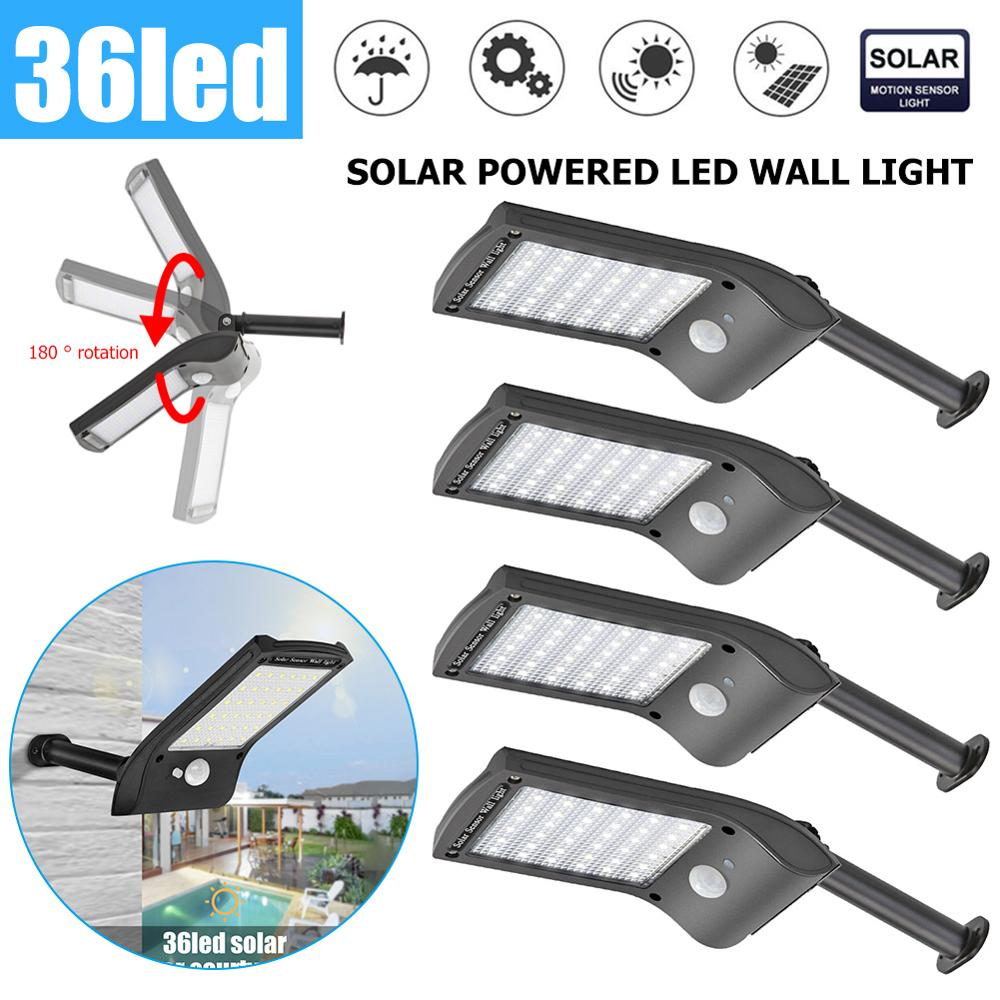 1 2 4pcs 36LED Solar Light Solar Power Motion Sensor Wall Lamp Waterproof Garden Security Light Street Lamp Garden Decoration