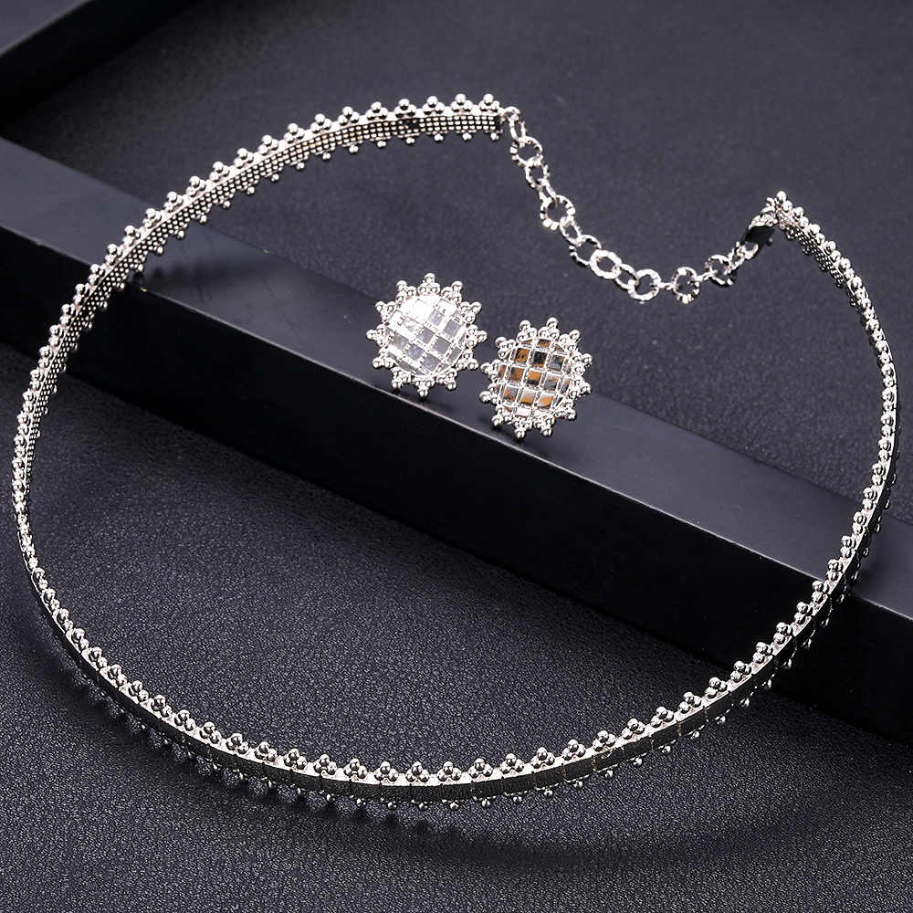 jankelly Luxury lace shape necklace  Sets Fashion Dubai Silver Bridal Jewelry Sets For Women Wedding brincos para as mulheres