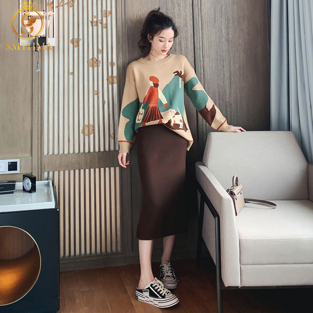 SMTHMA 2 Piece Set Women Winter Korean Style Knitted Cartoon Girl Sweater + High Waist Skirt Suit Ladies Sweater Sets 2019